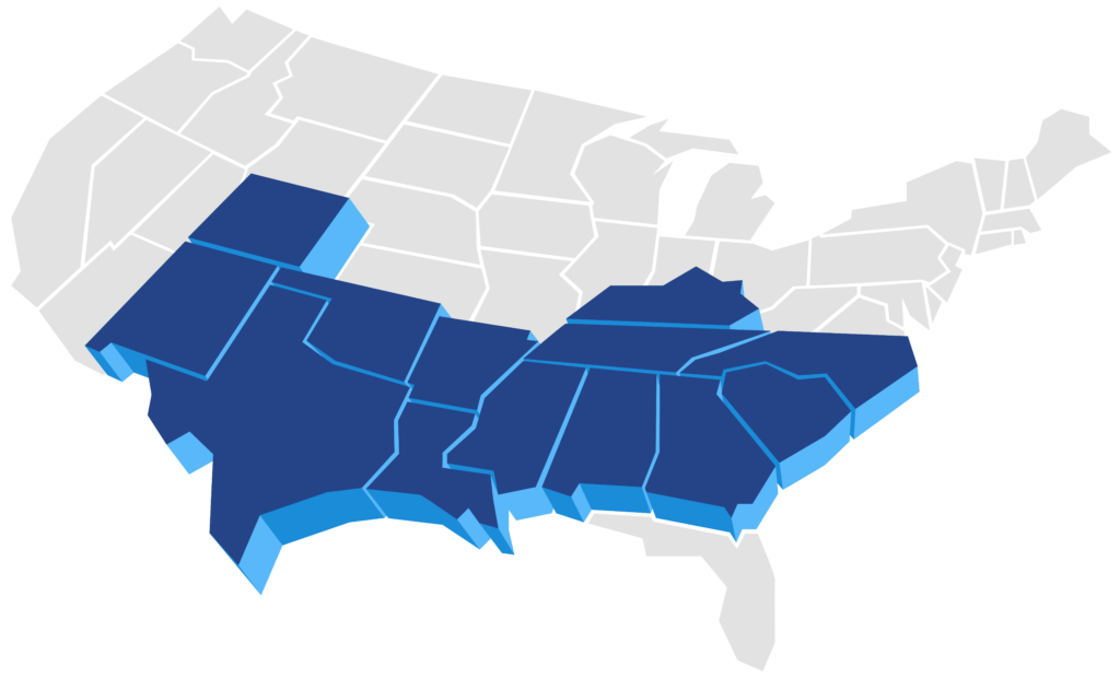 Map of the U.S. showing Baywater Wireline's operating areas in the Southeast.